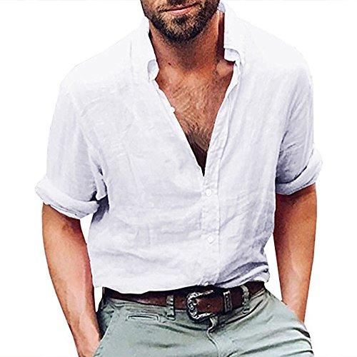 BHYDRY Herren Langarm Henley Shirt Baumwolle Leinen Strand Yoga Loose Fit Tops Bluse -