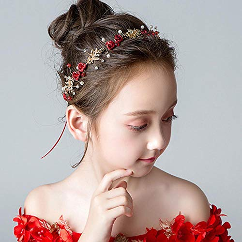 ZENWEN Rote VorzüGliche KopfschmuckmäDchen Der Kinder, Die Wilde HaarzusäTze Der ZusatzmäDchengeburtstagsnetten Stirnband-Laufstegshow Heirate