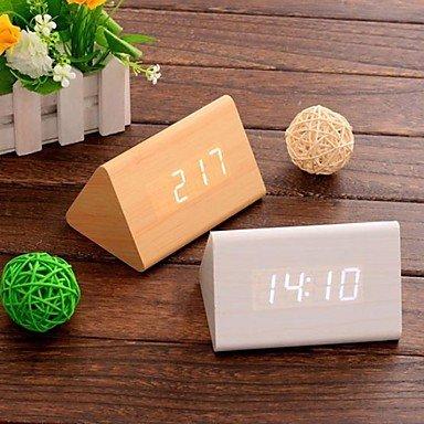 SUNNY KEY-l'horloge@temps calendrier thermomètre numérique contrôle son conduit alarme bois horloge (blanc&kaki&noir, 3 * aaa) , khaki