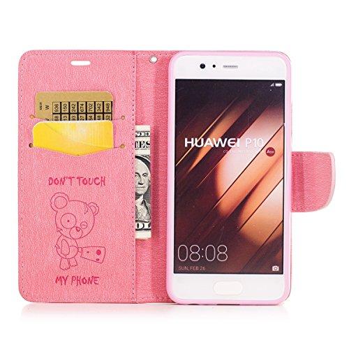 Hülle für Huawei P10, Tasche für Huawei P10, Case Cover für Huawei P10, ISAKEN Blume Schmetterling Muster Folio PU Leder Flip Cover Brieftasche Geldbörse Wallet Case Ledertasche Handyhülle Tasche Case Bär Text Pink
