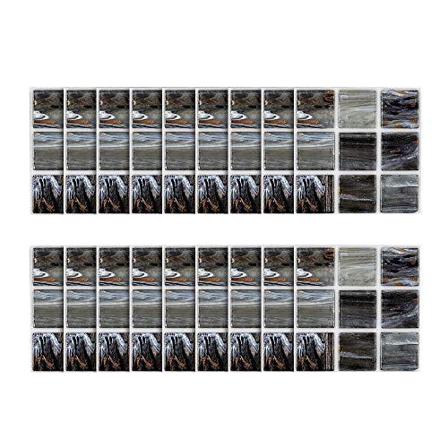 18pcs - tapeten Ziegel Stein rustikale Wirkung Wand Home Decor Selbstklebende Wasserdichte Schwarze marmor mosaik wandkunst küche Fliesen Aufkleber wandtattoos (C) -