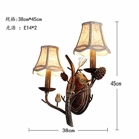 Rustic Country Style Pinecone Branch Bird Perching Fabric Shade Indoor Wall Lamp,2-Light