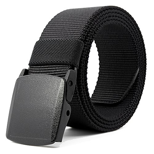 Kusun Black Breathable Nylon Strap Waterproof Men Sports Belts Outdoor Military Style Adjustable YKK 49,2 'BE058-B1