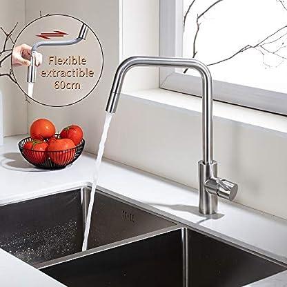 51OGnH%2BJ jL. SS416  - HOMELODY Grifo de Cocina 360°Giratorio Extraíble Monomando Agua Fría y Caliente Grifo Cepillado