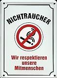Retro Wandschild Designer Schild Nichtraucher wir respektieren unsere Mitmenschen Deko 8x11cm Nostalgie Metal Sign B331