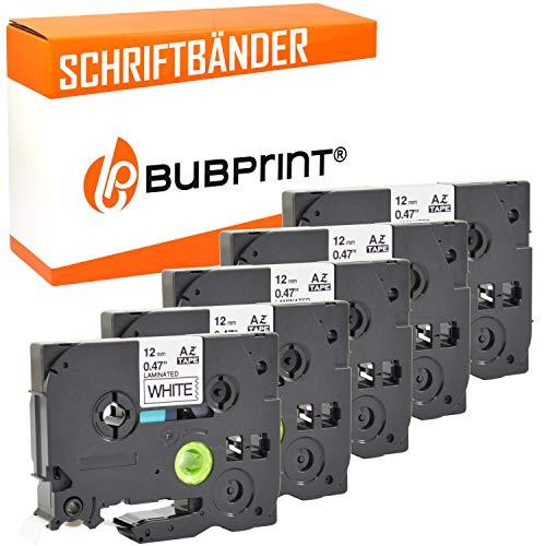 5 Bubprint Schriftbänder kompatibel für Brother TZE-231 für P-Touch 1000 1010 1250 1280 1290 D200VP D400 D400VP H100LB H101C H105 H105WB P700 900 12mm