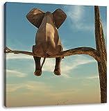 sitzender Elefant auf einem Ast in der Wüste, Format: 70x70 auf Leinwand, XXL riesige Bilder fertig gerahmt mit Keilrahmen, Kunstdruck auf Wandbild mit Rahmen, günstiger als Gemälde oder Ölbild, kein Poster oder Plakat