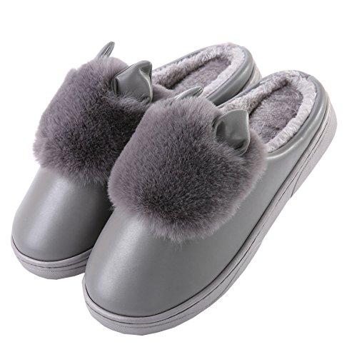 PU oreilles de chat mignon coton pantoufles à domicile-Unisexe hiver chaud peluche chaussures bootie Gris