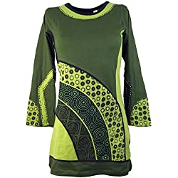 Guru-Shop, Mini Vestido Túnica Boho-chic, Verde, Algodón, Tamaño:S (38), Túnicas