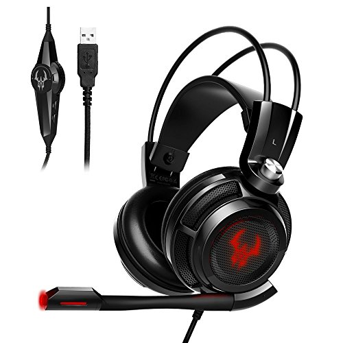 EasyAcc G1 Virtual 7.1 Surround-Sound Gaming Headset mit Vibrationsfunktion,USB PC,PS4 Gaming Kopfhörer - 7.1-surround-sound