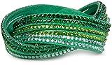 styleBREAKER weiches Strass Armband, eleganter Armschmuck mit Strassteinen, Wickelarmband, 6x1-Reihig, Damen 05040005, Farbe:Grün / Grün-Hellgrün-Klar