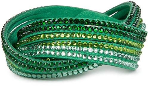 styleBREAKER weiches Strass Armband, eleganter Armschmuck mit Strassteinen, Wickelarmband, 6x1-Reihig, Damen 05040005, Farbe:Grün / Grün-Hellgrün-Klar (Armband Grün)