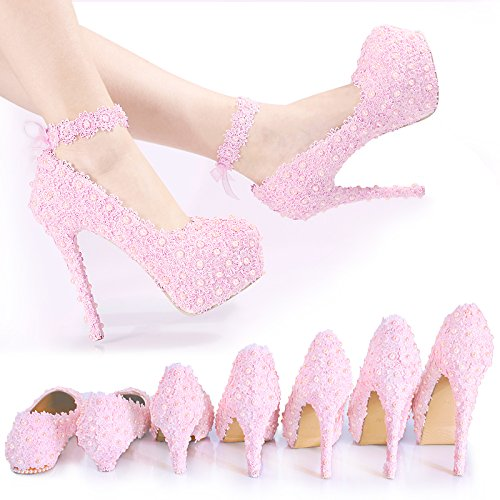 ZHANGYUSEN Spitze Rosa Diamant Hochzeit Schuhe, Brautjungfer Pearl Handgefertigte High Heel Schuhe, Prinzessin Hochzeit Kleid Hochzeit Schuhe, Farbband, 42, Spitze und 9 cm