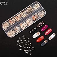 Garciasia 12 Rejillas/Set DIY 3D Metal Resina Studs Pegatinas Estilo Punk Nail Art Decoration