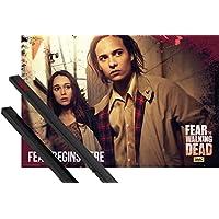 1art1® Póster + Soporte: Fear The Walking Dead Póster (91x61 cm) Fear Starts Here Y 1 Lote de 2 Varillas Negras