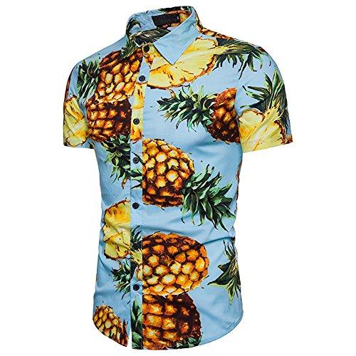 2018 Männer Strand Wind Mode Ananas Muster gefärbt halbe Hülse beiläufige Lange Abschnitt Ärmel Kurzhülse T-Shirts T Herrenbekleidung (Größe : XXL, Stil : B) -