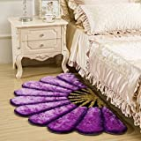 Raedial Arts Half Round Purple Color Sunflower Area Rug Mats For Bedroom Living Room Round Mats Computer Chair Mat
