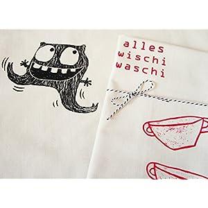 Wischi Waschi Monster, Geschirrtuch aus Biobaumwolle. Mit Handsiebdruck.