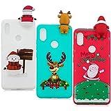 YKTO Hülle Xiaomi Redmi S2 (Redmi Y2) 5.99 Zoll 3D Weihnachten Handyhülle [3 Stück] Stoßfest Weich Silikon Schutzhülle Weihnachten Motiv Handytasche für RedmiS2