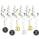 TOYMYTOY Deckenhänger 30 Geburtstagsparty Hochzeitstag Gedenktag Dekorationen Spiral Wirbel Girlanden 12 Stück