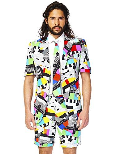 Opposuits Testival Anzug für Herren besteht aus Sakko, Hose und Krawatte mit 80's Tv Print