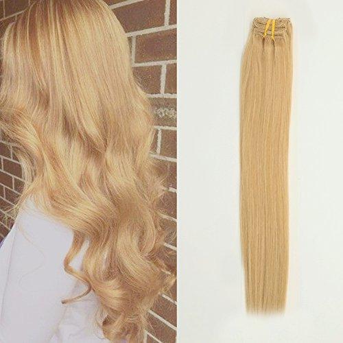 Komfami Remy Haarverlängerung Clip in Haarverlängerung Echthaar Echtes Haar 100 Gramm (45cm, #24 Natürliche Blondine)