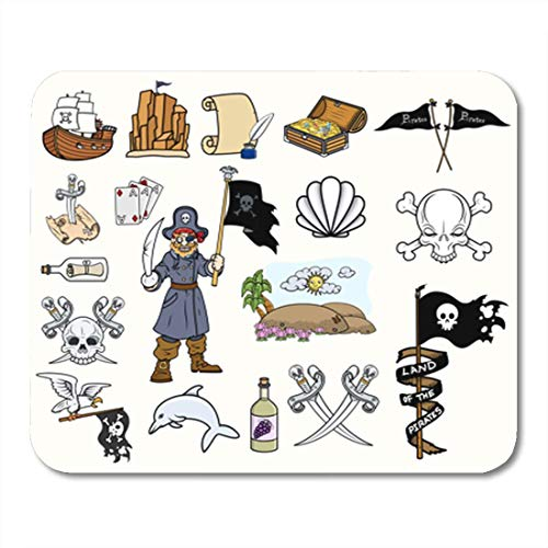 HOTNING Gaming Mauspads, Gaming Mouse Pad Animal Pirates Cartoon Vectors Set Aces Bad Beach Boat Bottle 11.8