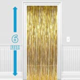 #1: PARTY PROPZ ™ Set of 2 Metallic Golden Foil Curtain Fringe Party Decoration Door Curtains, 3 x 6 Feet