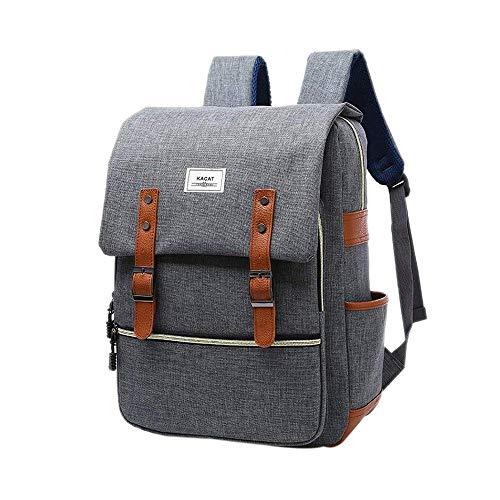 "Kacat - Mochila para ordenador portátil (15,6"", lona, con funda para ordenador portátil, para la escuela, viajes, senderismo) gris gris Estándar"