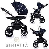 Binivita® Indigo Black Collection Matt Kinderwagen Kombikinderwagen Kombi 3 in 1 + Babyschale + Buggy-Kinderbuggy-Sportwagen + Babywagen 14-Teile Set inkl. Kinderwagentasche - Blue-Indigo