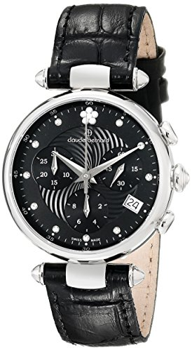 Claude Bernard Women's 10215 3 NPN2 Dress Code Chronograph Analog Display Swiss Quartz Black Watch