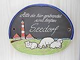 Türschild Keramikschild Leuchturm Schafe Nordsee Meer Haustürschild Keramik