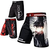 FOX-FIGHT Fist Punch MMA Fight Hosen Short Muay Thai Kickboxen UFC Kampfsport Boxen Training (Schwarz/Rot, M)