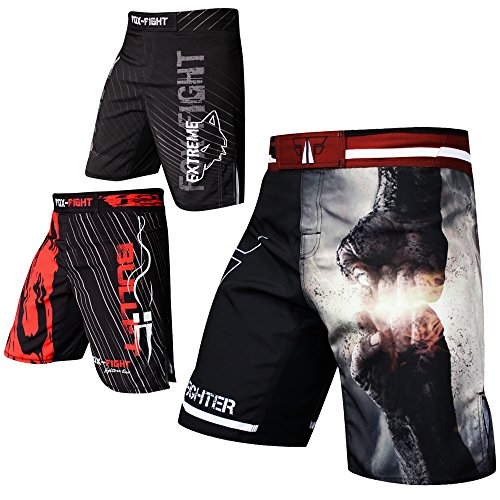 FOX-FIGHT Fist Punch MMA Fight Hosen Short Muay Thai Kickboxen UFC Kampfsport Boxen Training (Schwarz/Grau, S) -
