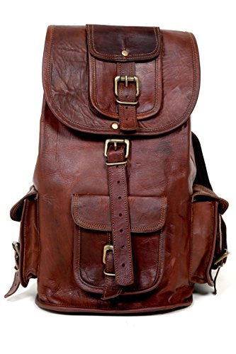 "Urbankrafted 16""Handmade Genuine Leather Brown Travel Casual Laptop Lady Messenger Backpack Backpack"