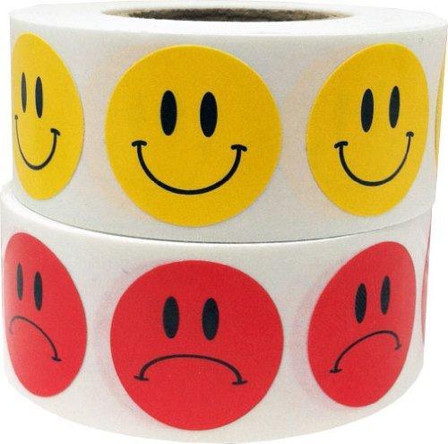Amarillo Smiley y Rojo Triste Cara Circulo Punto Pegatinas Paquete, 19 mm 3/4 Pulgada Redondo, 500 Etiquetas de Cada Cara en un Rollo
