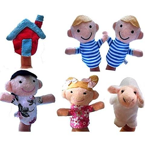 FAMILIZO 6pcs del dedo Incluso Cuentacuentos buenos juguetes marioneta de mano para el regalo del bebé
