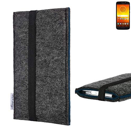 flat.design Handyhülle Lagoa für Motorola Moto E5 Dual SIM   Farbe: anthrazit/blau   Smartphone-Tasche aus Filz   Handy Schutzhülle  Handytasche Made in Germany