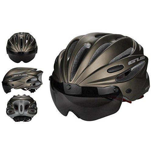 pawaca Erwachsene Radsport Bike Helm mit abnehmbarem Schild Visier für Herren Damen Sicherheit Schutz, bequem, leicht, atmungsaktiv, titan, Large