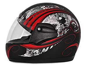 Vega Corah Orna Full Face Graphic Helmet (Dull Black and Red, S)