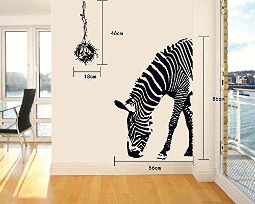 ufengke® Zebra Personalizzato Adesivi Murali, Camera da Letto Soggiorno Adesivi da Parete Removibili/Stickers Murali/Decorazione Murale