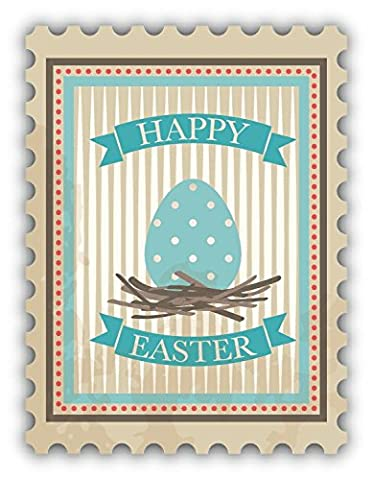 Happy Easter Egg Postage Stamp De Haute Qualite Pare-Chocs Automobiles Autocollant 10 x 12 cm