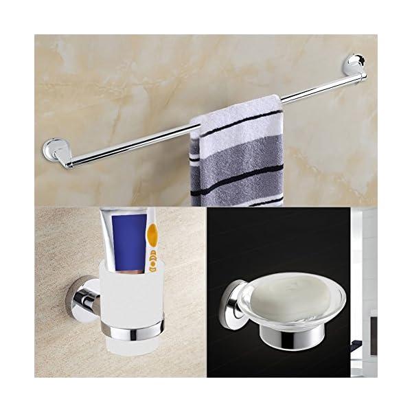 6 Accesorios de baño de Pared, Toallero, Porta Cepillo de Dientes, jabonera, portapapeles, Gancho, Anillo de Toalla, Juego de Accesorios Modernos para baño