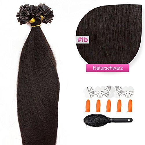 50 x 1,0g glatte indische Remy 100% Echthaar-Strähnen/U-tip/Extensions/Haarverlängerung mit Keratinbondings 50 cm #1b naturschwarz - natural black