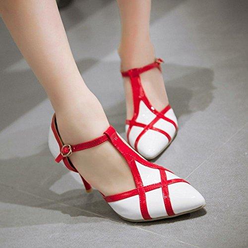 COOLCEPT Femmes Ete Mode Multi Color Boucle Cheville Talon hauts Escarpins Sandales Blanc