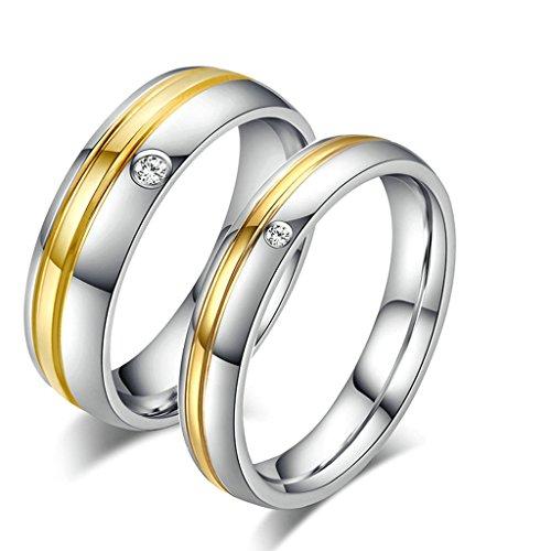 Daesar Uomo Banda Acciaio Inossidabile Anello Per Coppia Anello Argento Oro Anelli Zirconi Dimensioni:27
