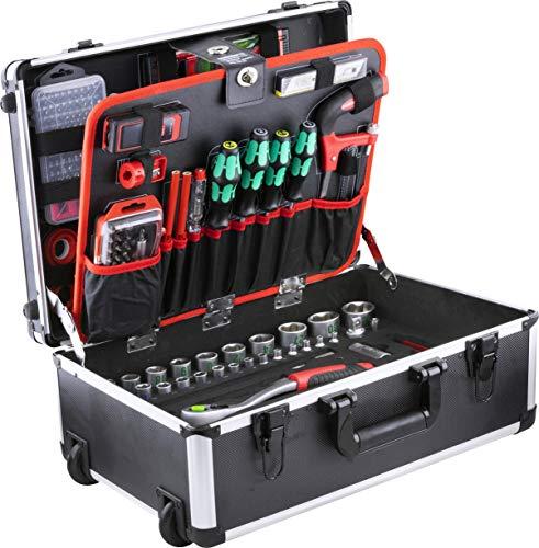 Meister Werkzeugtrolley 238-teilig - Mit Qualitätswerkzeug von Knipex & Wera - Mit Rollen - Teleskophandgriff / Profi Werkzeugkoffer befüllt / Werkzeugkiste fahrbar auf Rollen / Werkzeugbox / 8973770
