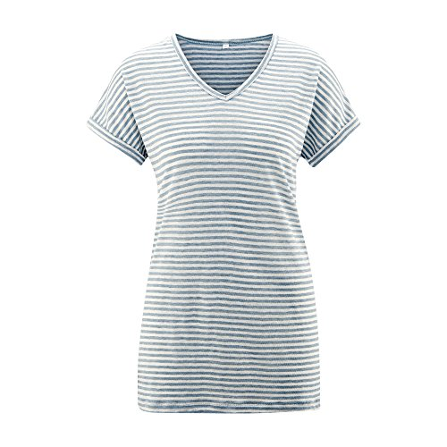 Living Crafts Leinen-Shirt infinity blue mel/white
