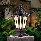 Hines Lanterna di vetro impermeabile europea antica lampada da tavolo lampada a colonna antica Victoria alluminio esterno Villa cortile ingresso cancello E27 lampada pilastro Street Post Light