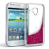 EAZY CASE GmbH Hülle für Samsung Galaxy S3 Mini Schutzhülle mit Flüssig-Glitzer, Handyhülle, Schutzhülle, Back Cover mit Glitter Flüssigkeit, aus TPU/Silikon, Transparent/Durchsichtig, Pink